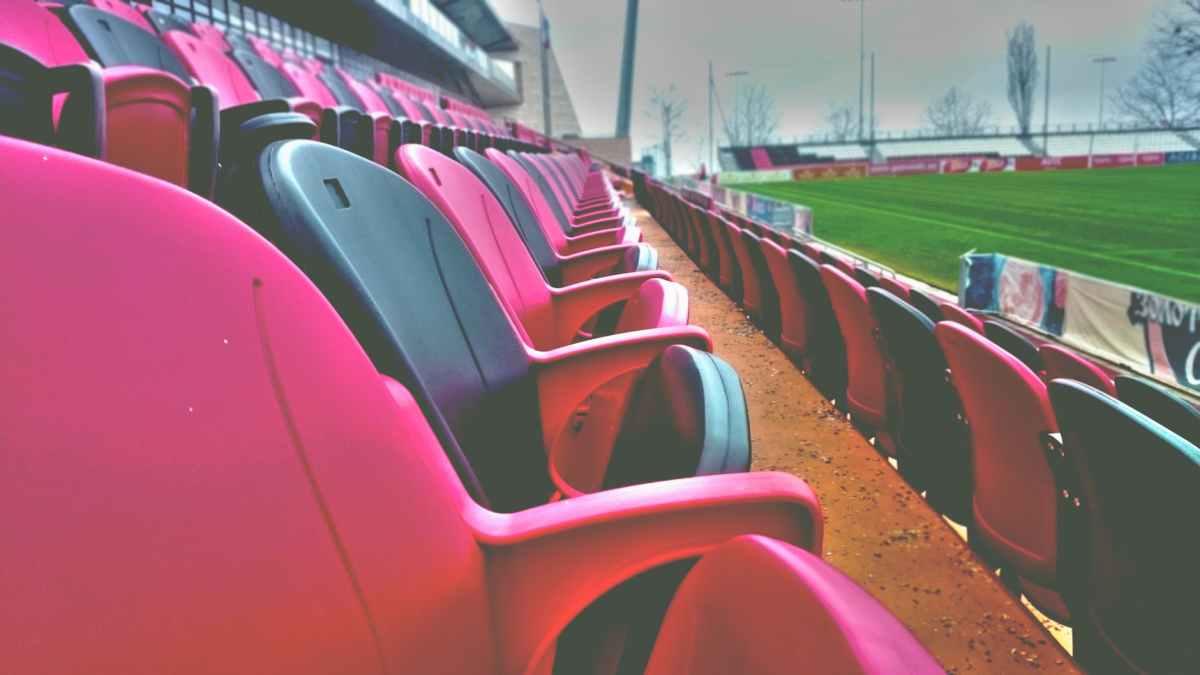 baseball bleachers chairs close up